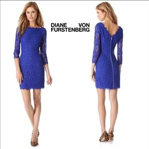 New! DIANE VON FURSTENBERG Royal Blue Lace Dress